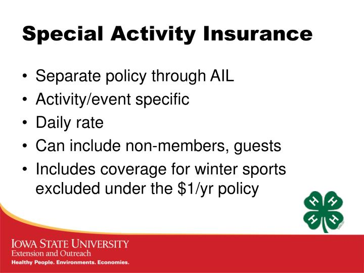 Special Activity Insurance