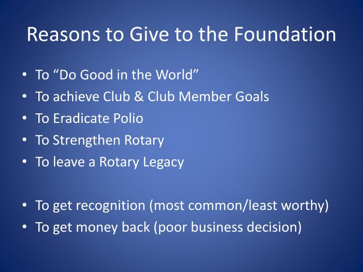Reasons to Give to the Foundation