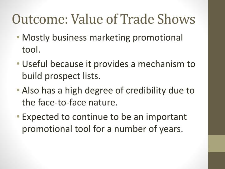 Outcome: Value of Trade Shows