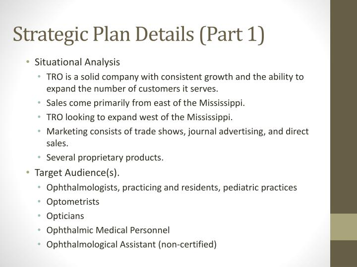 Strategic Plan Details (Part 1)