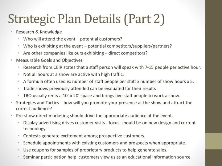Strategic Plan Details (Part 2)