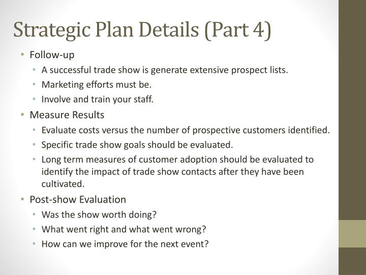 Strategic Plan Details (Part 4)