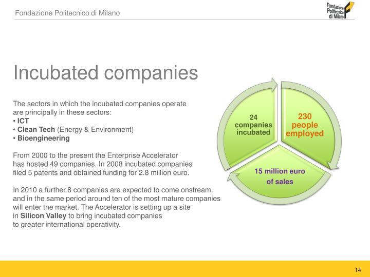 Incubated companies