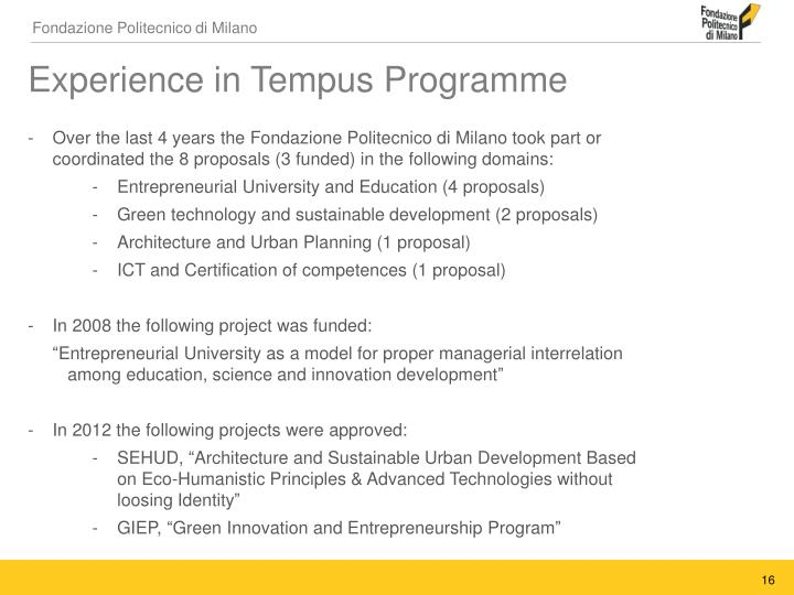Experience in Tempus Programme