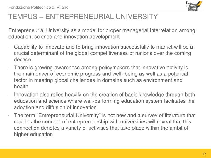 TEMPUS – ENTREPRENEURIAL UNIVERSITY