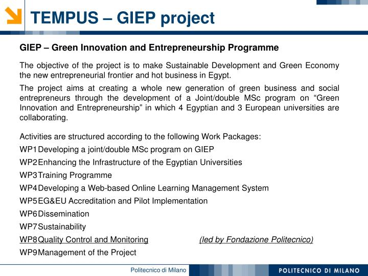 TEMPUS – GIEP project