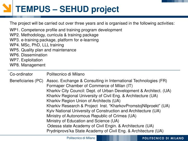 TEMPUS – SEHUD project