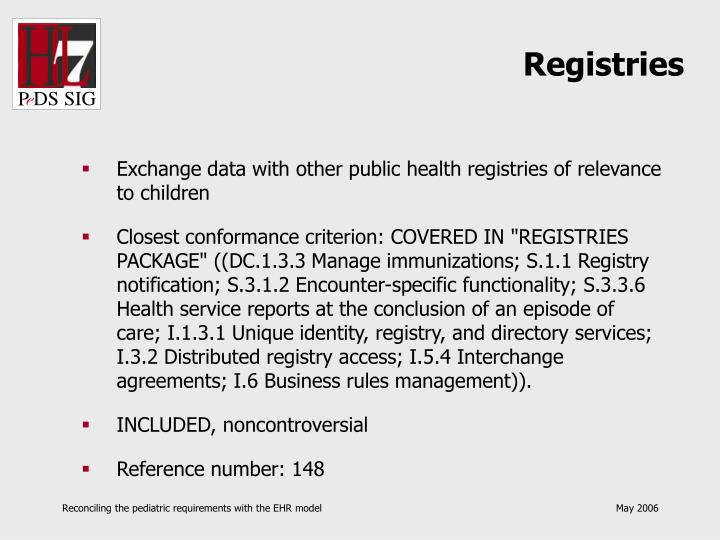 Registries