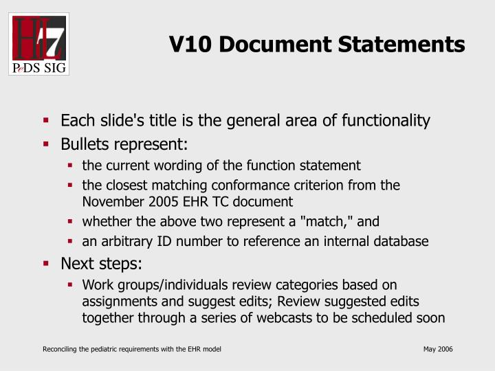 V10 document statements