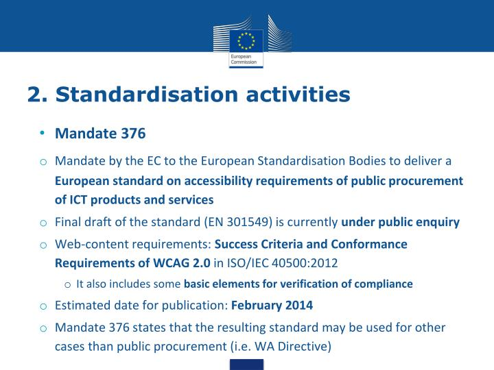 2. Standardisation activities