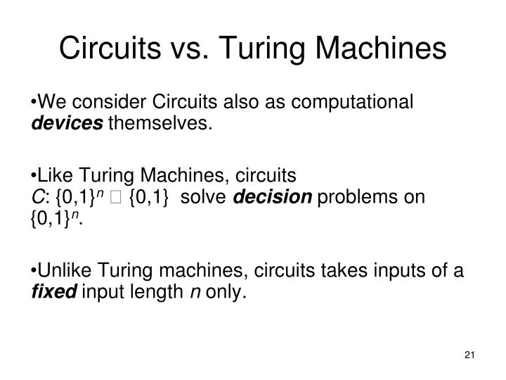 Circuits vs. Turing Machines