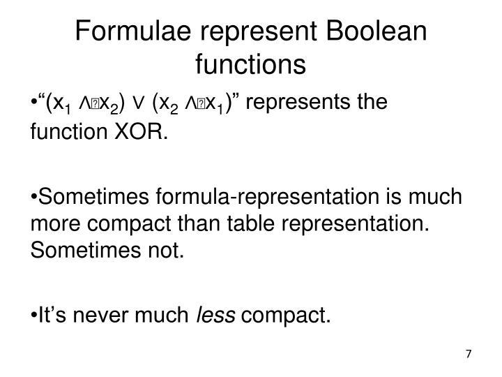 Formulae represent Boolean functions