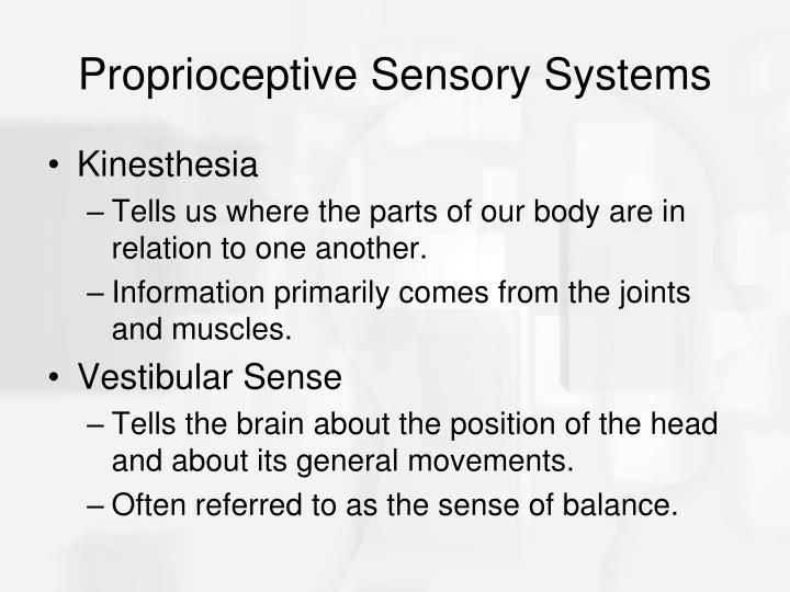 Proprioceptive Sensory Systems