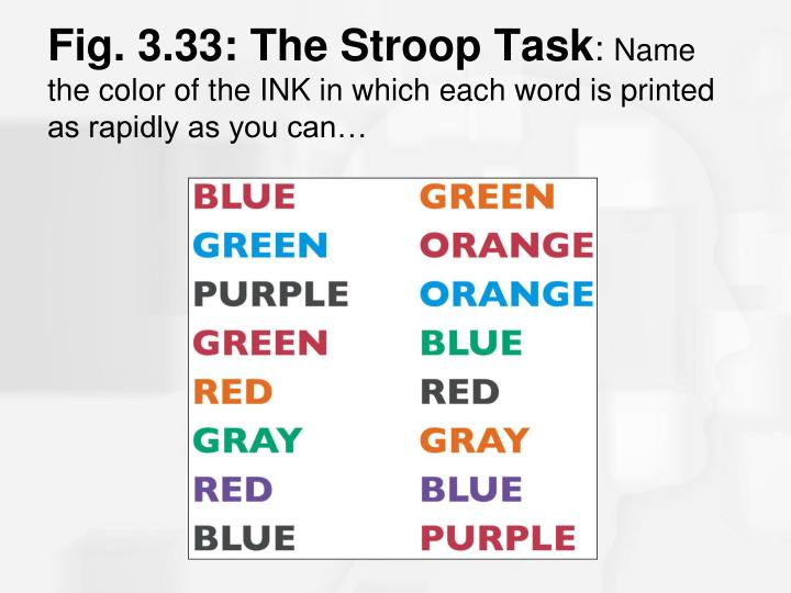 Fig. 3.33: The Stroop Task