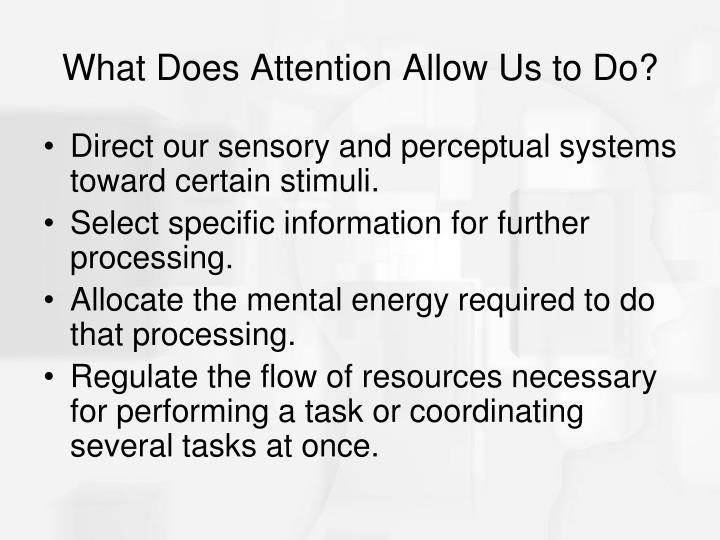 What Does Attention Allow Us to Do?
