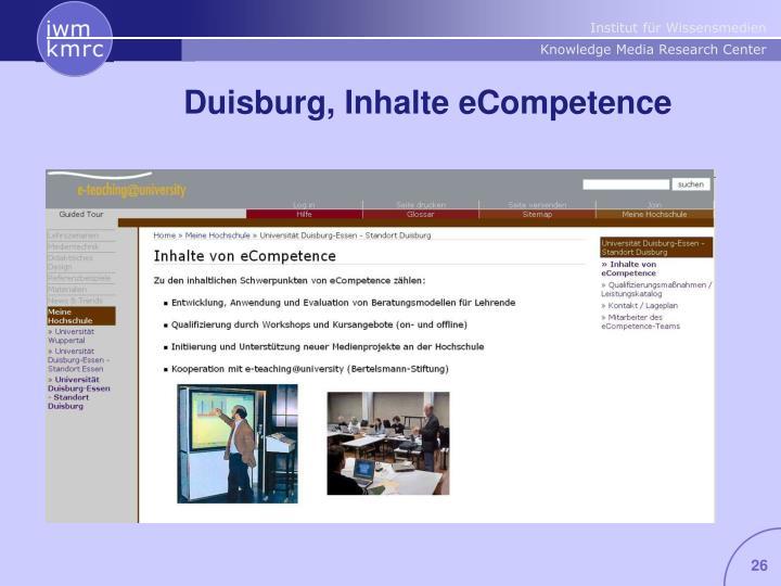 Duisburg, Inhalte eCompetence