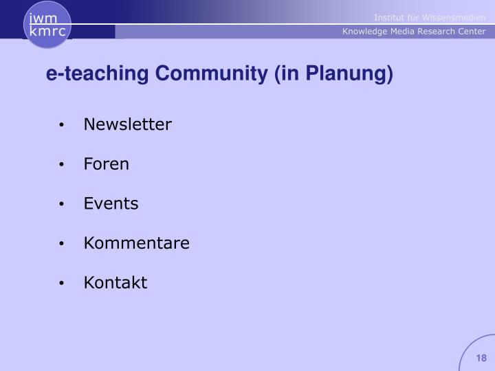 e-teaching Community (in Planung)