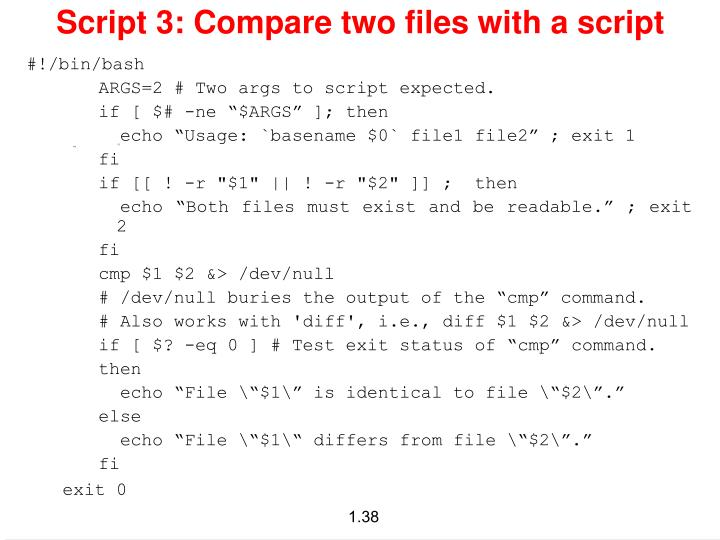 Script 3: Compare two files with a script