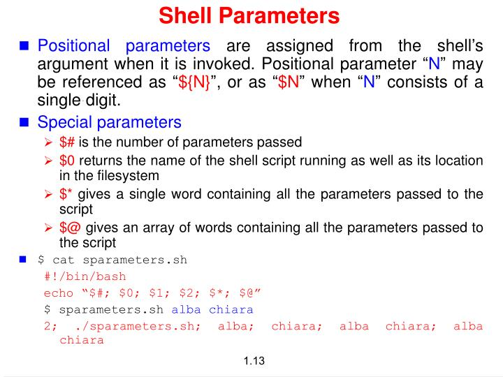 Shell Parameters