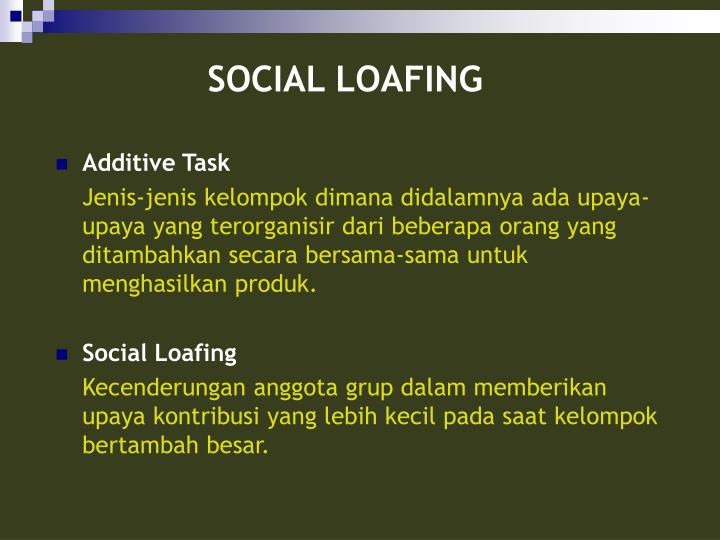 social loafing in technology groups The social impact theory is a key component to understanding social loafing in technology-supported groups the social impact theory (lata, 1981) claims that all forms of social influence, whatever the specific social process, will be proportional to a multiplicative function of the strength, immediacy, and number of people who are the sources of influence, and inversely proportional to the strength, immediacy, and number of people being influenced.