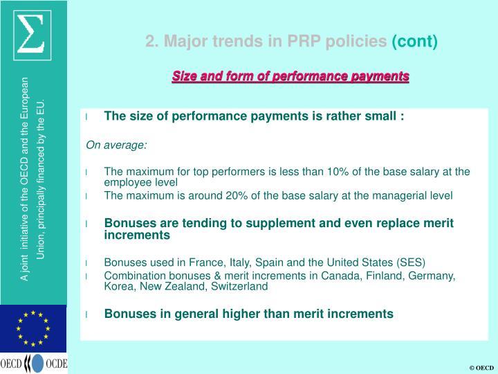 2. Major trends in PRP policies