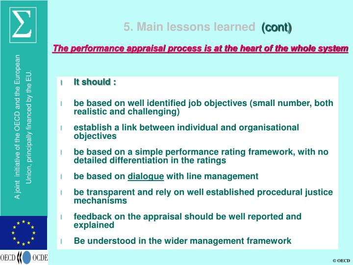 5. Main lessons learned