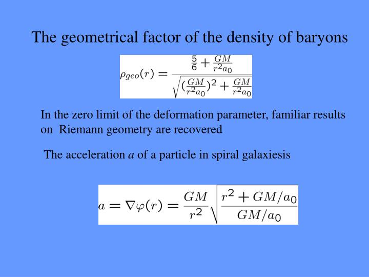 The geometrical factor of the density of baryons