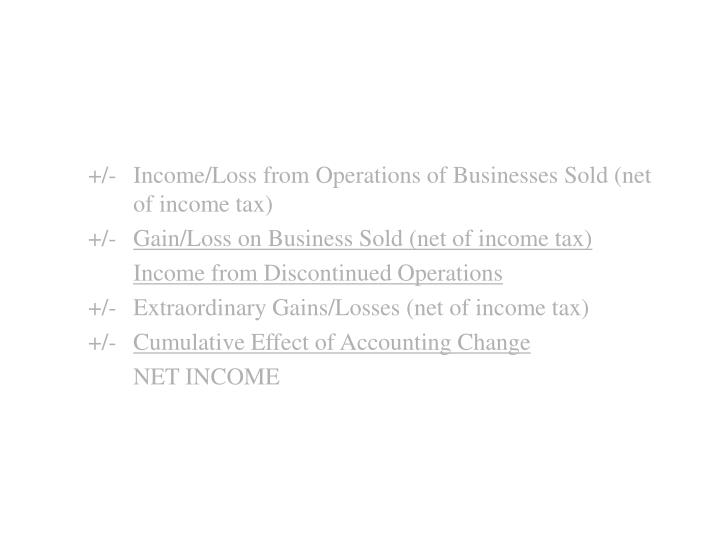 +/-	Income/Loss from Operations of Businesses Sold (net 	of income tax)