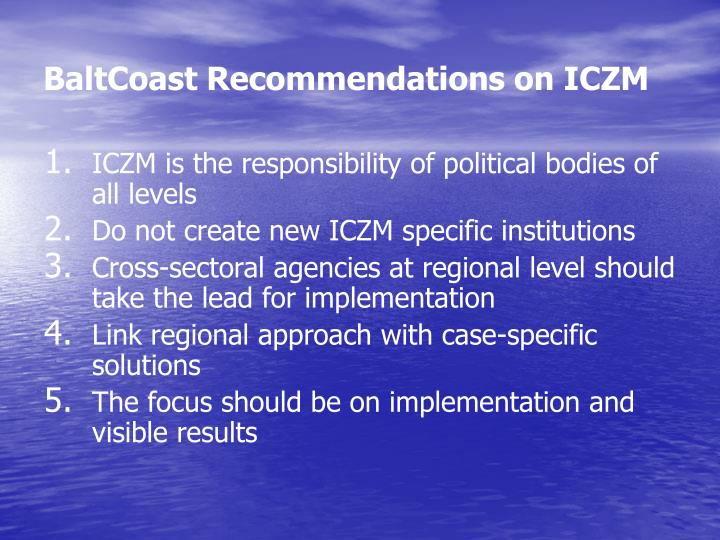 BaltCoast Recommendations on ICZM