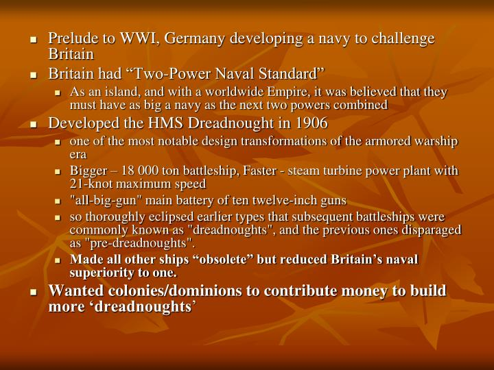 Prelude to WWI, Germany developing a navy to challenge Britain
