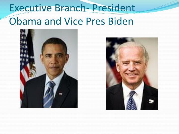 Executive Branch- President Obama and Vice Pres Biden