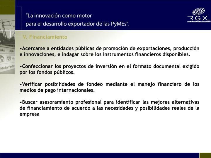 V. Financiamiento