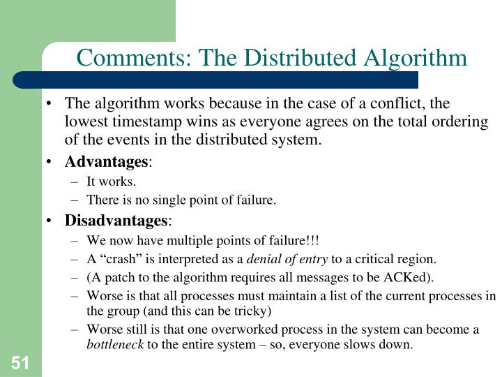 Comments: The Distributed Algorithm