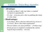 comments token ring algorithm