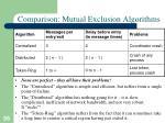 comparison mutual exclusion algorithms
