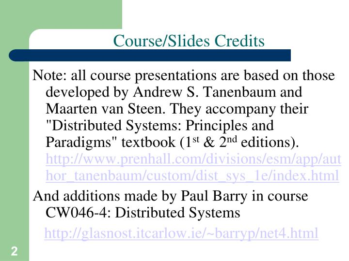 Course slides credits