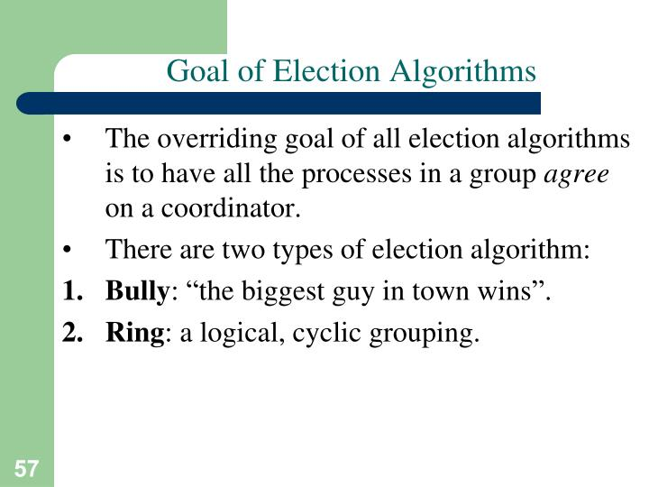 Goal of Election Algorithms