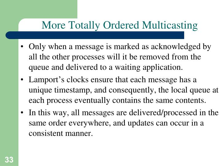 More Totally Ordered Multicasting