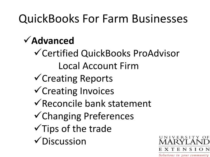 QuickBooks For Farm Businesses