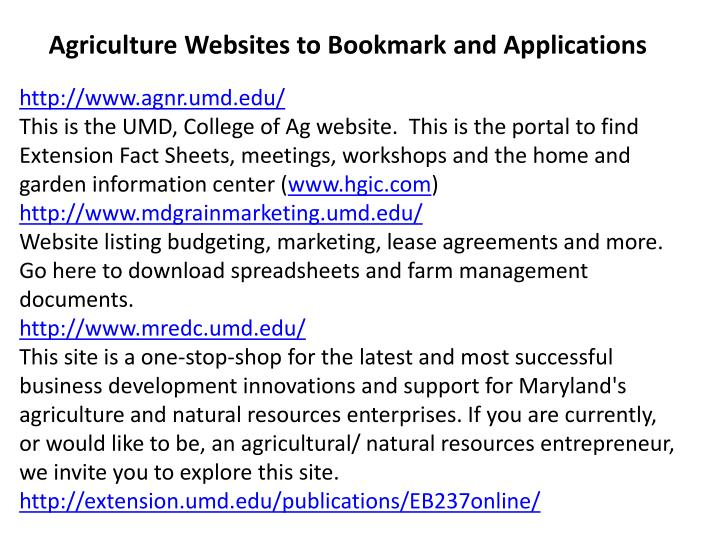 Agriculture Websites to Bookmark and Applications