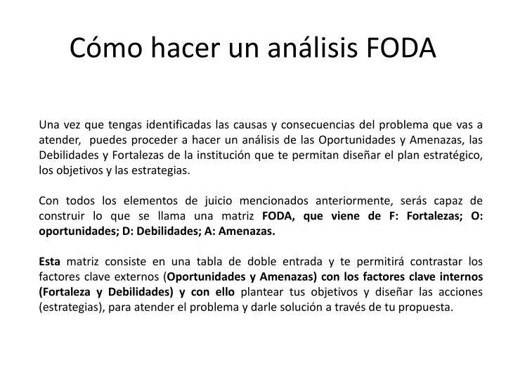 Cómo hacer un análisis FODA