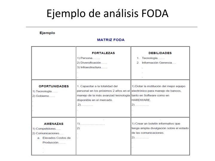 Ejemplo de análisis FODA
