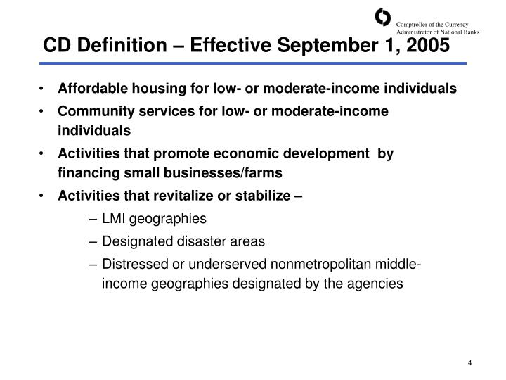 CD Definition – Effective September 1, 2005