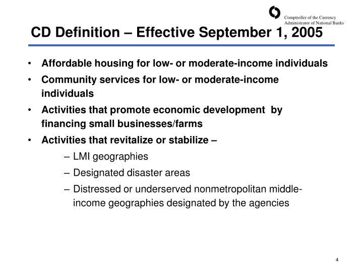 CD Definition – Effective September 1, 2005