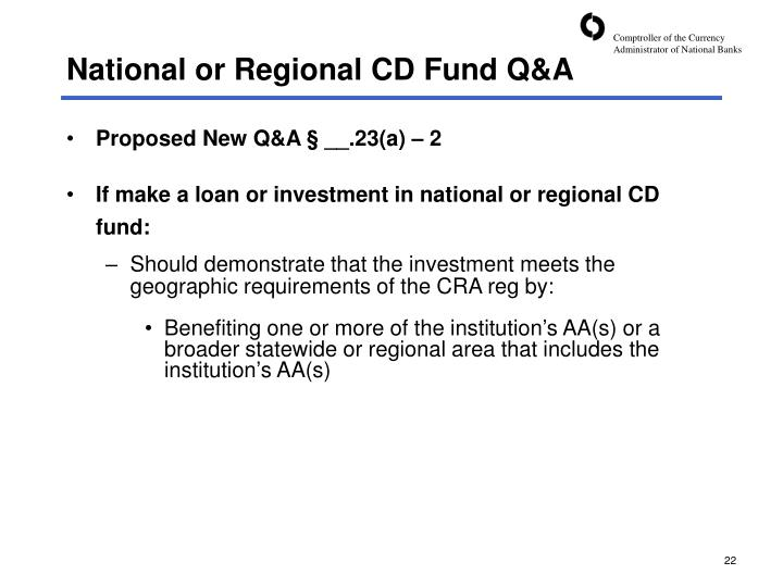 National or Regional CD Fund Q&A
