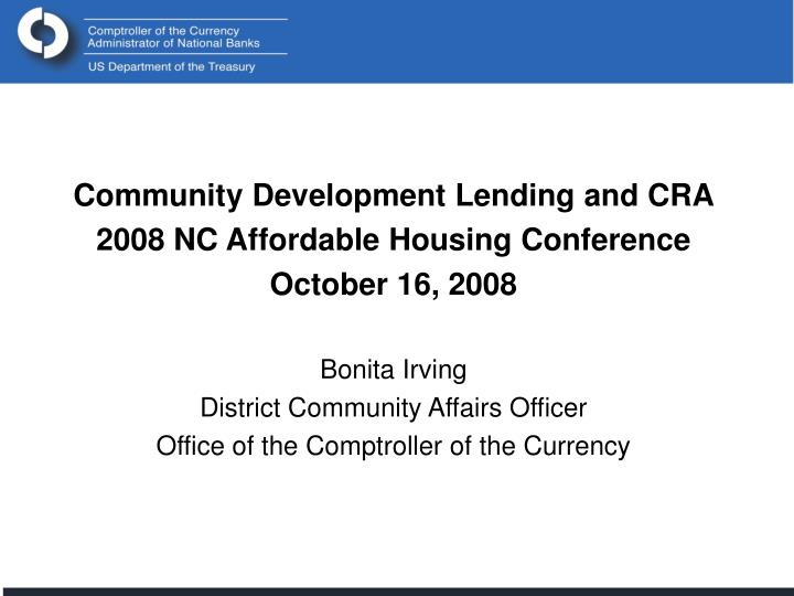 Community Development Lending and CRA