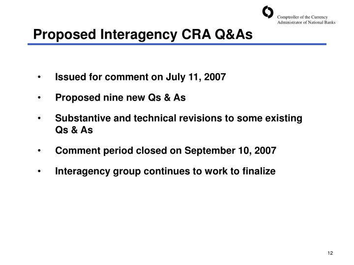 Proposed Interagency CRA Q&As