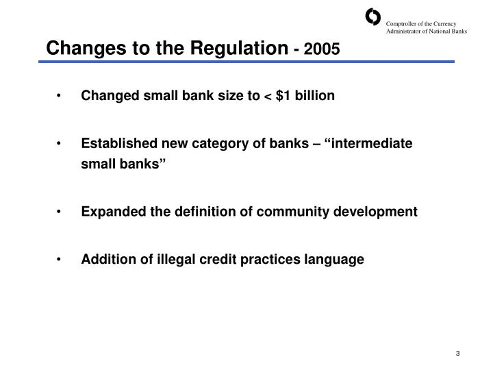 Changes to the Regulation