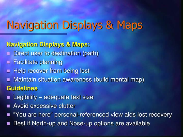 Navigation Displays & Maps