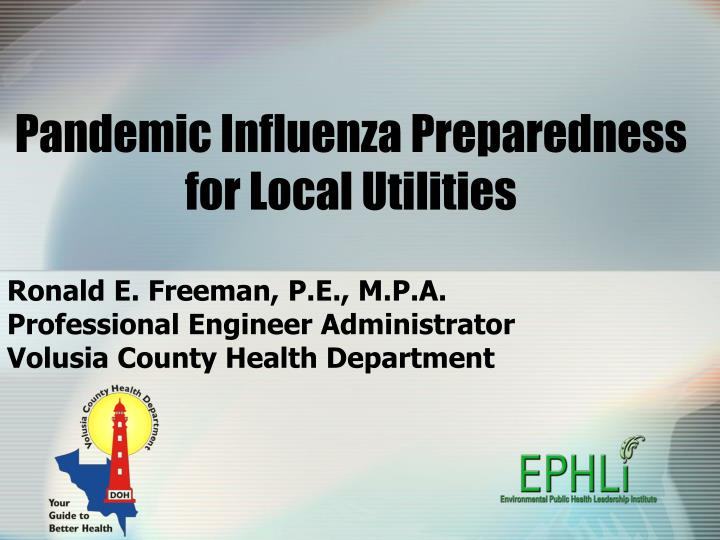 Pandemic influenza preparedness for local utilities
